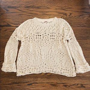 Free People Traveling Lace Crochet Sweater